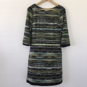 Calvin Klein Multicolored 3/4 Sleeve Midi Dress 6